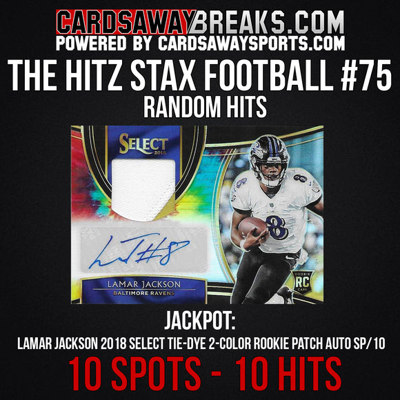The Hitz Stax (Football) #75 - Lamar Jackson 2-Color Tie-Dye RPA SP/10