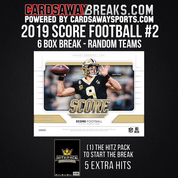 2019 Score Football 6-Box Break - Random Teams #2
