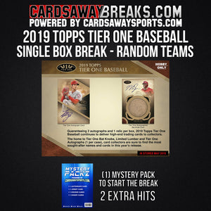 2019 Topps Tier 1 Baseball Single Box Break - Random Teams #1