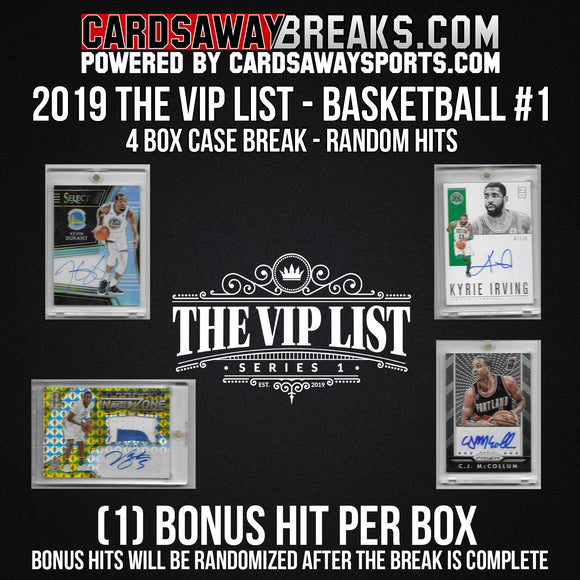 The VIP List (Basketball) 4-Box Case Break - RANDOM HITS #1