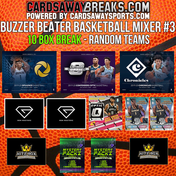 BUZZER BEATER Basketball Mixer (10 Box) - RANDOM TEAMS #3 (2 Mystery Packz + $100 GIFT CARD)
