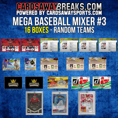 MEGA Baseball Mixer (16 Box) - RANDOM TEAMS #3 (3 BONUS CARDS + $50 GIFT CARD)