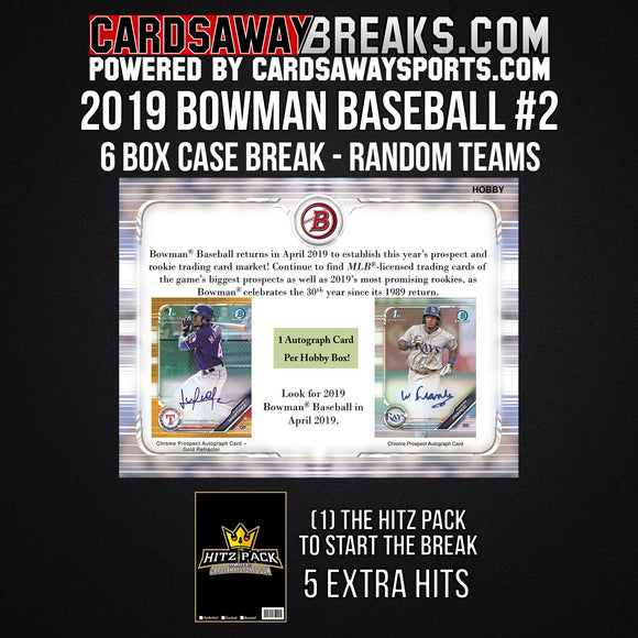 2019 Bowman Baseball 6-Box Break - Random Teams #2