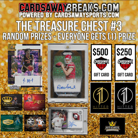 THE TREASURE CHEST (MULTI-SPORT) #3 - 50 PRIZES - RANDOM PRIZE (MAHOMES ROOKIE AUTO WORTH ~$10k)