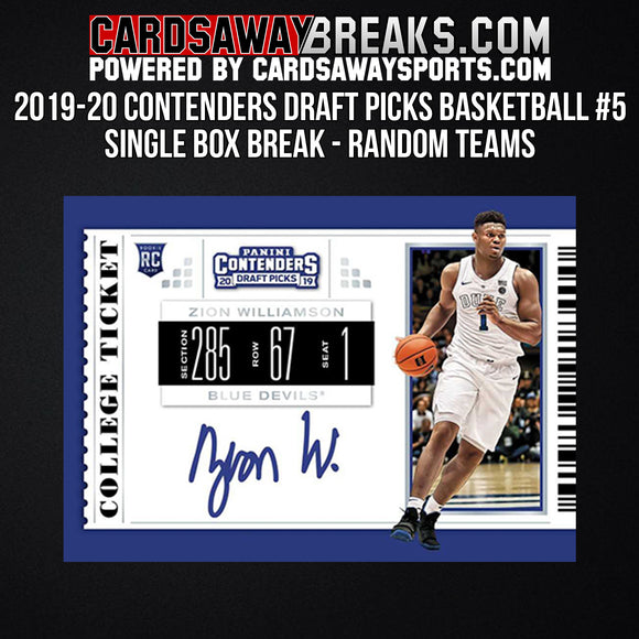 2019-20 Contenders Draft Picks Basketball - Single Box Break - Random Teams #5