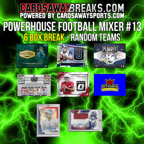 Powerhouse Football Mixer (6 Box) - RANDOM TEAMS #13 (2 BONUS CARDS + $25 GIFT CARD!)