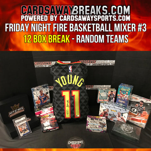 Friday Night Fire Basketball Mixer (12 Box) - RANDOM TEAMS #3 (TRAE YOUNG AUTOGRAPH JERSEY + ZION ROOKIE CARD GRADED)