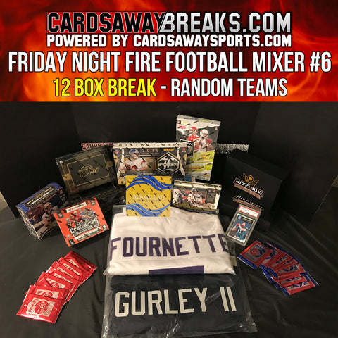 Friday Night Fire Football Mixer (12 Box) - RANDOM TEAMS #6 (Gurley + Fournette Autograph Jersey +$100 GIFT CARD)