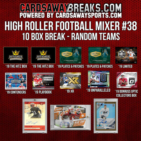 High Roller Football Mixer (10 Box) - RANDOM TEAMS #38 (3 BONUS CARDS + $50 GIFT CARD!