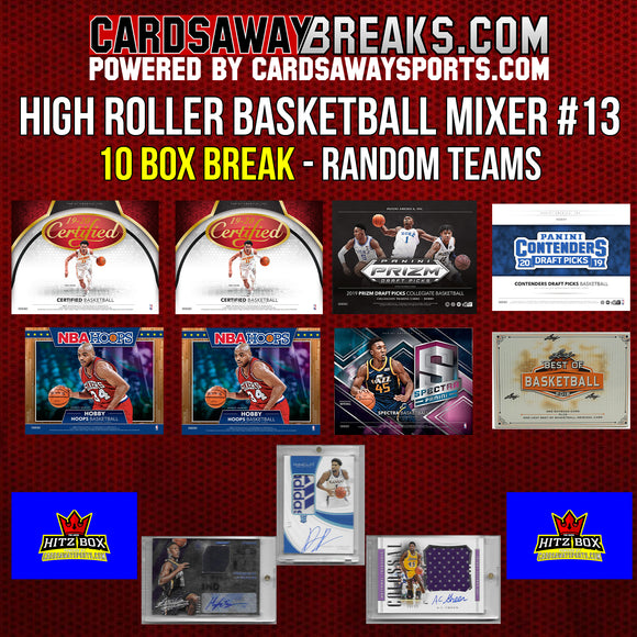 High Roller Basketball Mixer (10 Box) - RANDOM TEAMS #13 (3 CHASE CARDS + $100 GIFT CARD) [RELEASES 11-13-19]