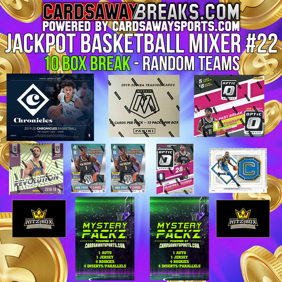JACKPOT Basketball Mixer (10 Box) - RANDOM TEAMS #22 (2 Mystery Packz + $100 GIFT CARD)