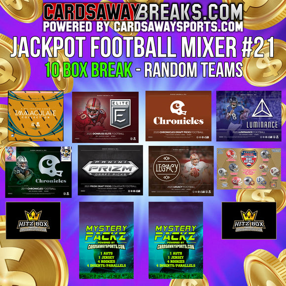 JACKPOT Football Mixer (10 Box) - RANDOM TEAMS #21 (2 MYSTERY PACKZ + $100 GIFT CARD)