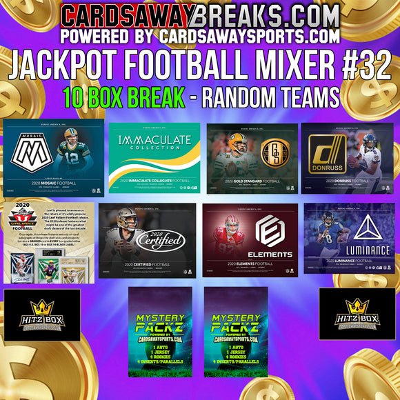 JACKPOT Football Mixer (10 Box) - RANDOM TEAMS #32 (2 MYSTERY PACKZ + $100 GIFT CARD)