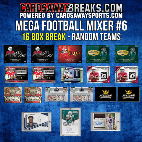 MEGA Football Mixer (16 Box) - RANDOM TEAMS #6 (3 BONUS CARDS + $50 GIFT CARD!)