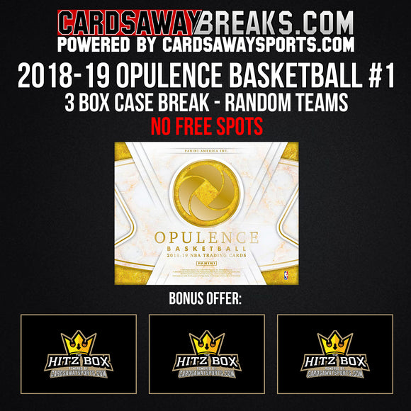 2019 Opulence Basketball 3-Box Case Break - Random Teams #1 (3 BONUS HITZ BOX) [NO FREE SPOTS!]