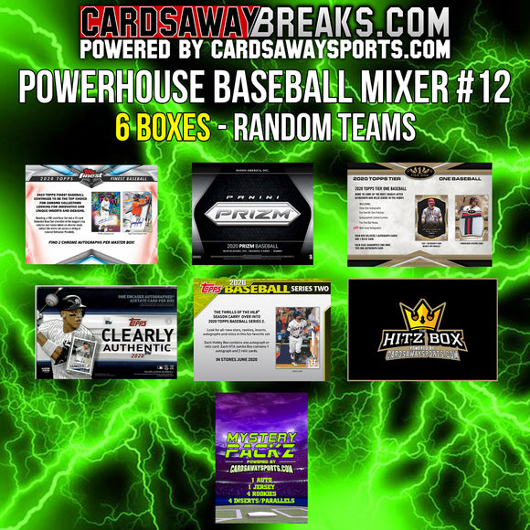 Powerhouse Baseball Mixer (7 Box) - RANDOM TEAMS #12 (2 BONUS CARDS + $25 GIFT CARDS)