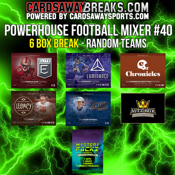 Powerhouse Football Mixer (6 Box) - RANDOM TEAMS #40 (Mystery Pack + $25 GIFT CARD!)