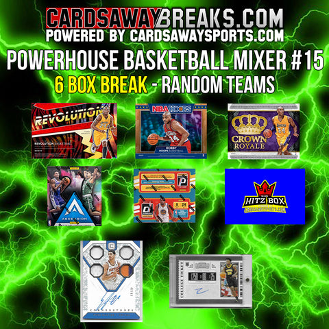 Powerhouse Basketball Mixer (6 Box) - RANDOM TEAMS #15 (2 BONUS CARDS + $25 GIFT CARD)