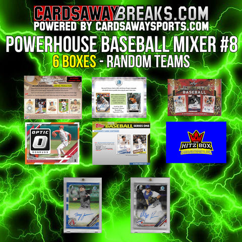 Powerhouse Baseball Mixer (6 Box) - RANDOM TEAMS #8 (2 BONUS CARDS + $25 GIFT CARD)