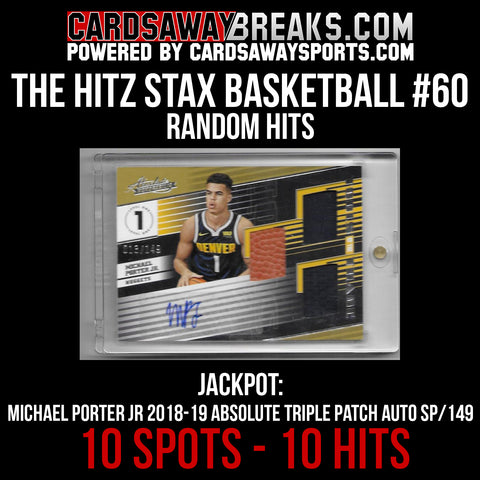 The Hitz Stax (Basketball) #60 - Michael Porter Jr. Rookie Triple Mem Auto
