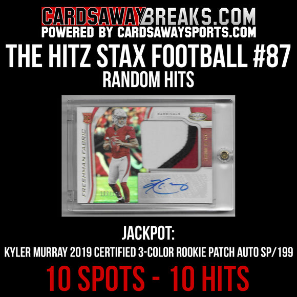 The Hitz Stax (Football) #87 - Kyler Murray 3-Color Patch Auto SP/199