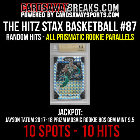 The Hitz Stax (Basketball) #87 - Jayson Tatum Prizm Mosaic Rookie GEM MINT 9.5
