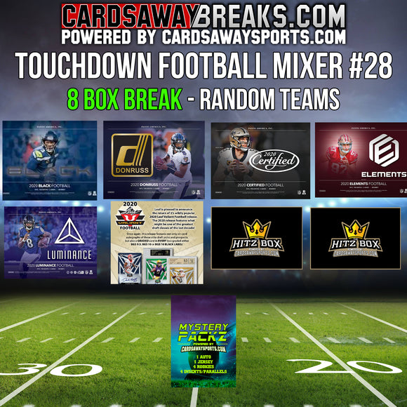 Touchdown Football Mixer (8 Box) - RANDOM TEAMS #28 (1 MYSTERY PACKZ + $50 GIFT CARD)