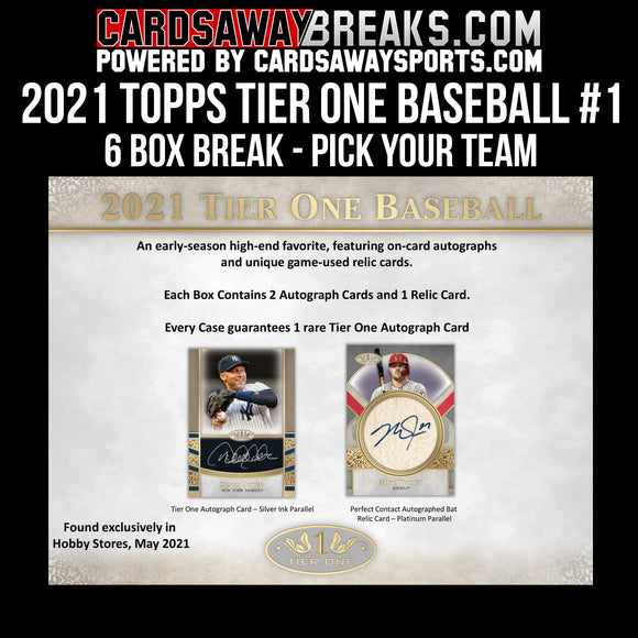 2021 Topps Tier One Baseball - 6 Box Break - PICK YOUR TEAM #1