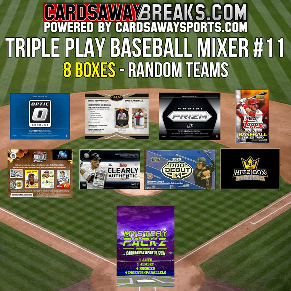Triple Play Baseball Mixer (8 Box) - RANDOM TEAMS #11 (1 MYSTERY PACK + $25 GIFT CARD)