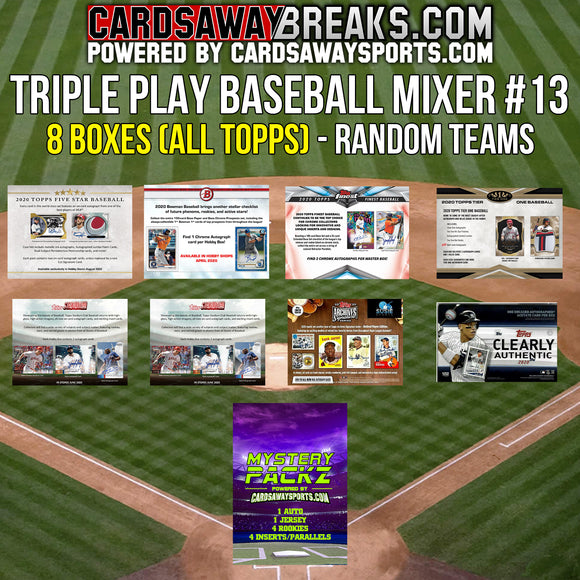 Triple Play Baseball Mixer (8 Box ALL TOPPS) - RANDOM TEAMS #13 (1 MYSTERY PACK + $25 GIFT CARD)