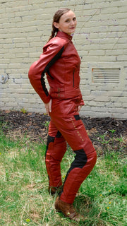 Phoenix Red Leather Pants