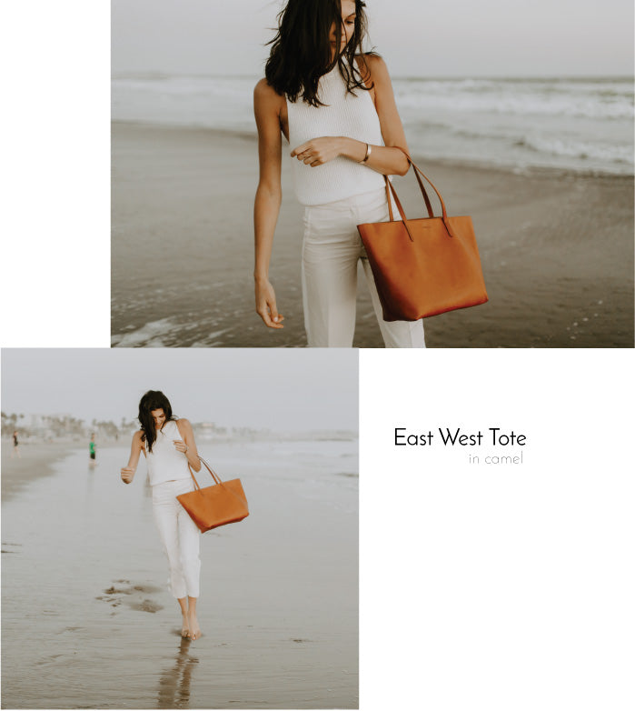 Findlay East West Tote in Camel Veg tan Leather Bag