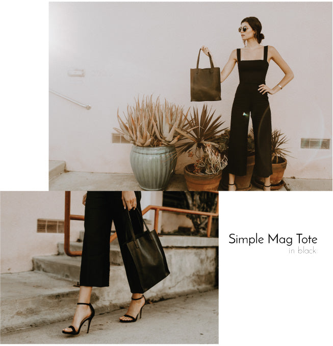 Findlay Simple Mag Tote Black Pebbled Leather Bag