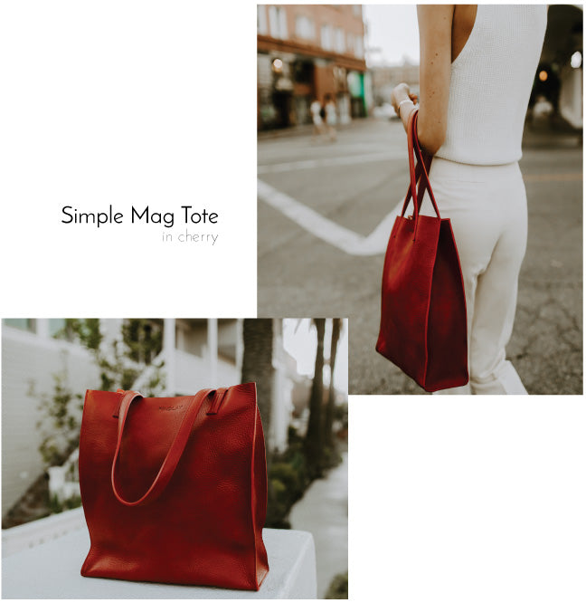 Findlay Simple Mag Tote Cherry red Pebbled Leather Bag