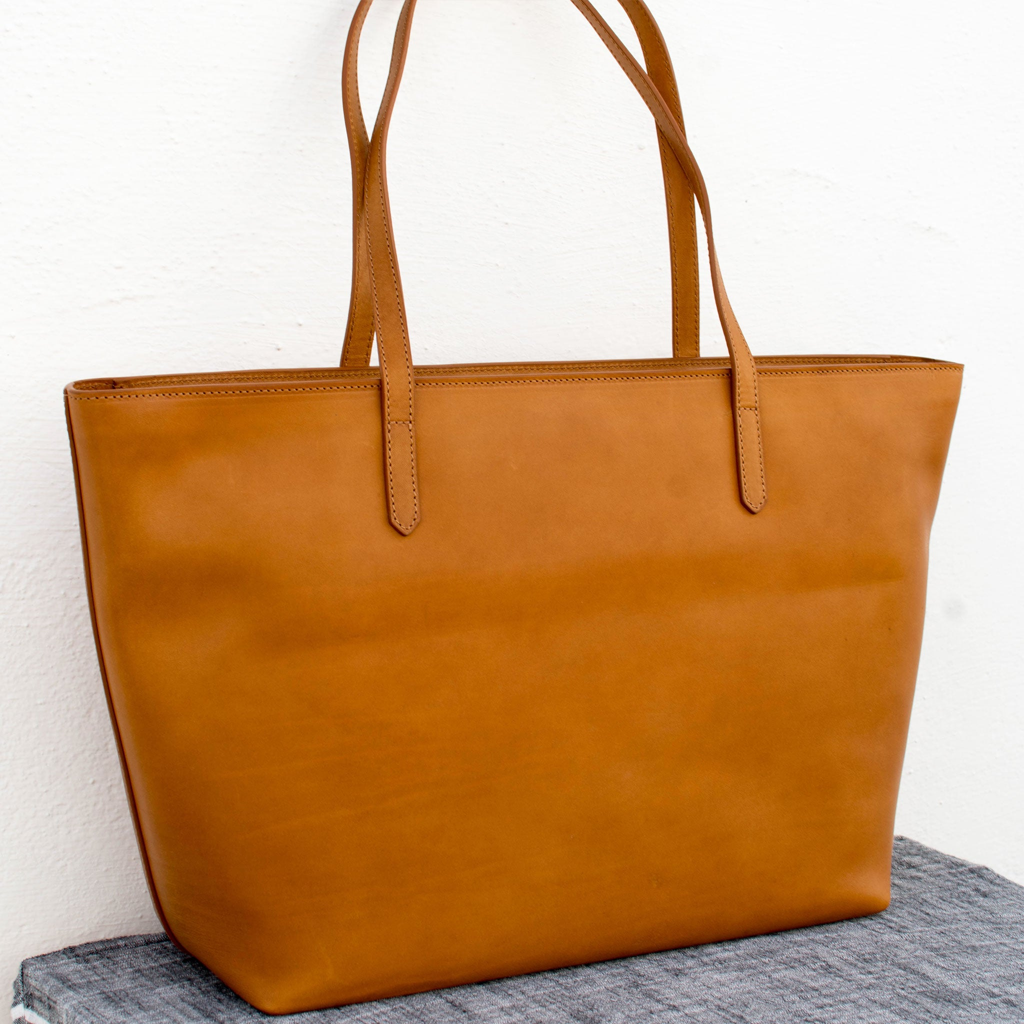 camel natural leather tote bag made in Italy on sale