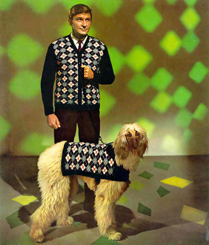 man and dog wearing matching jumpers