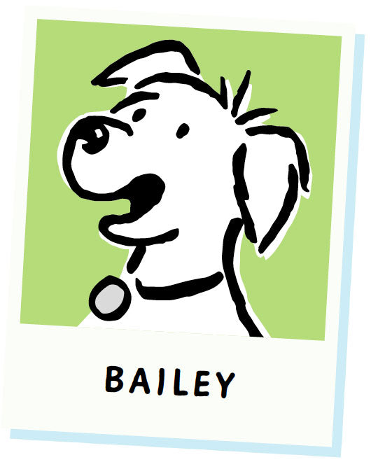 Bailey barking heads cartoon