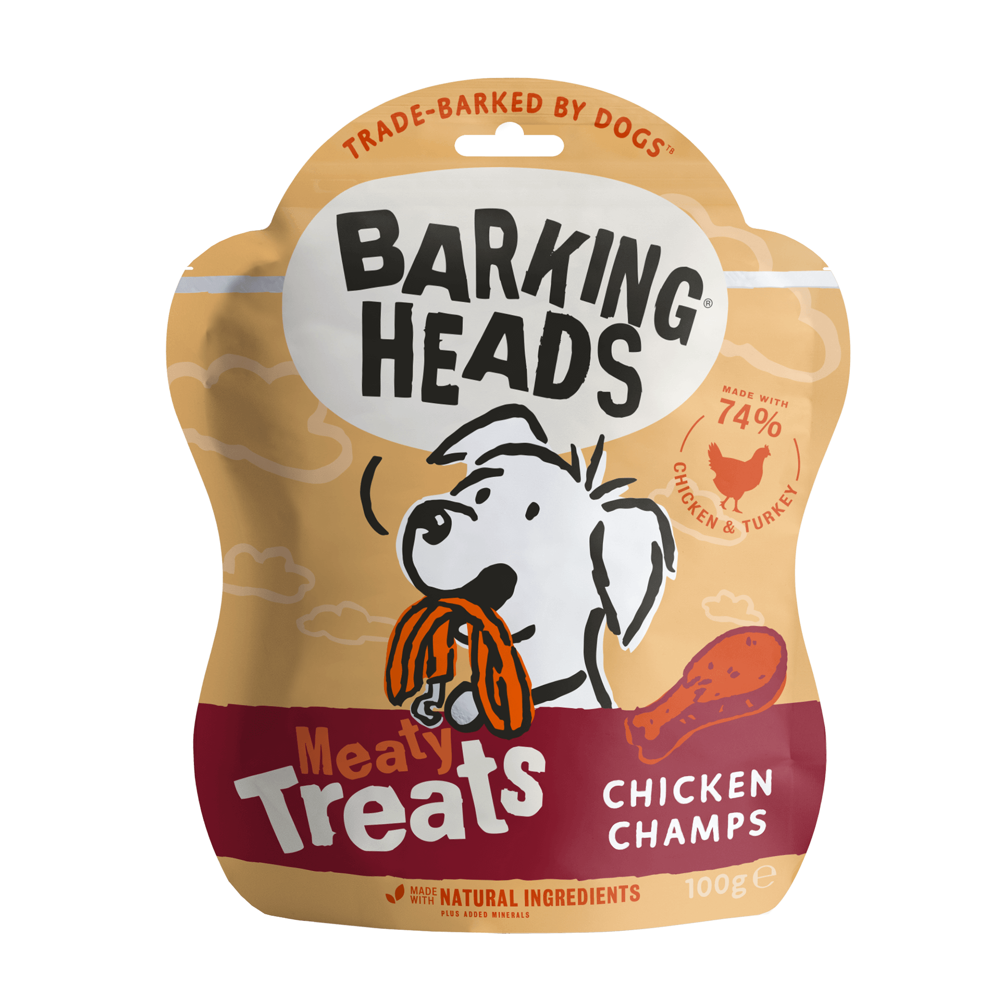 barking heads treats chicken champs front of pack