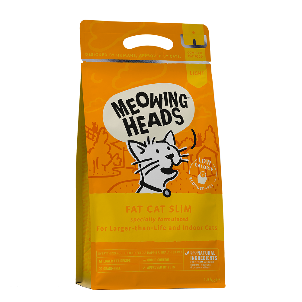 meowing heads fat cat slim front of pack