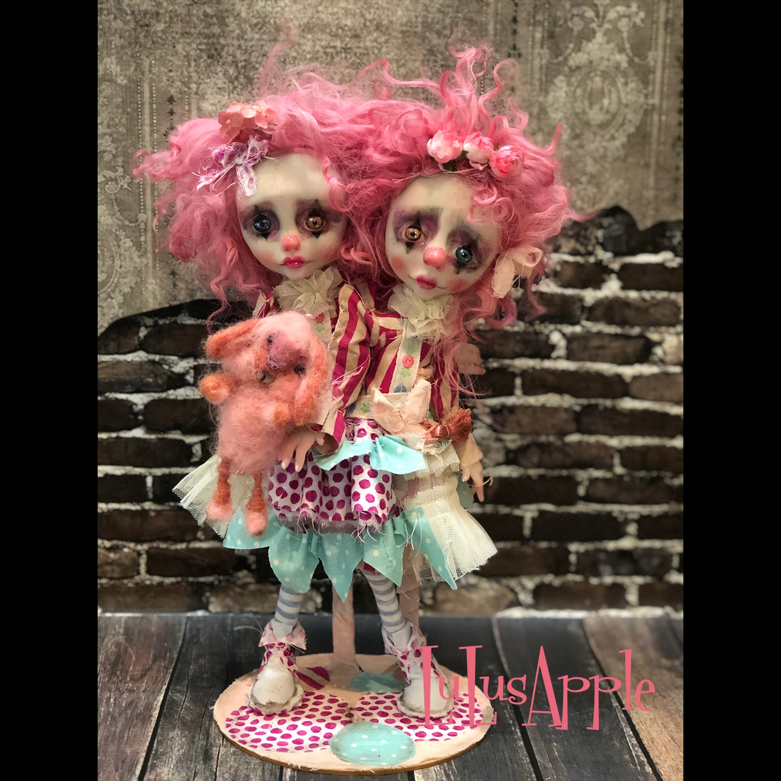 Strawberry Soda the bunny and Pop Conjoined Gothic Clown Twins OOAK Art Dolls LuLusApple