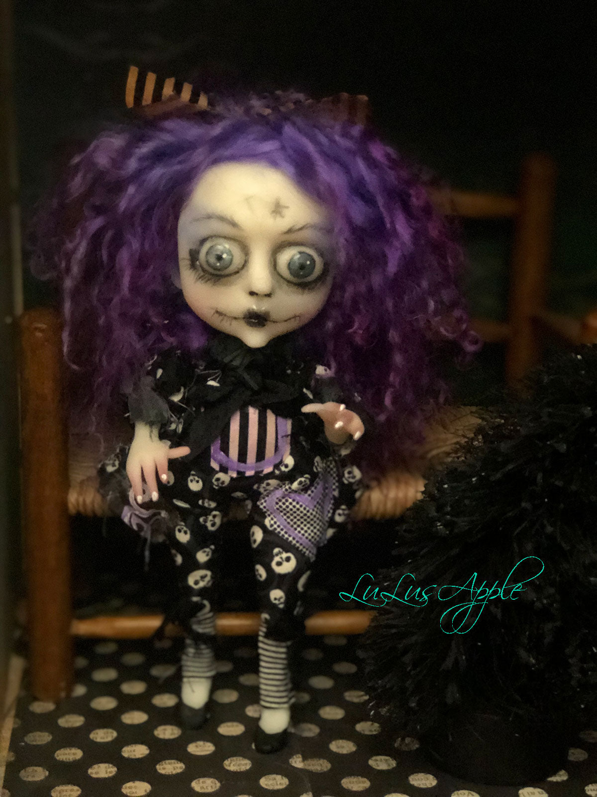 Tiff Ghoulia Mini OOAK LuLusApple Art Doll