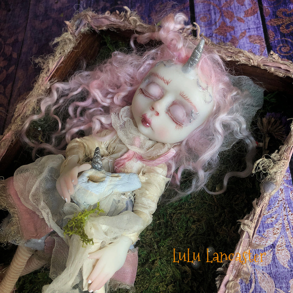 Mini Tobin the Unicorn sleeping kids OOAK Art Doll LuLu Lancaster
