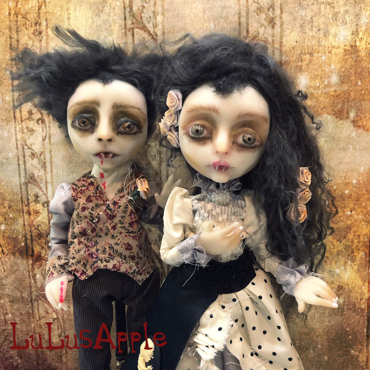 Albert and Victoria Vampire couple OOAK Art Doll LuLusApple
