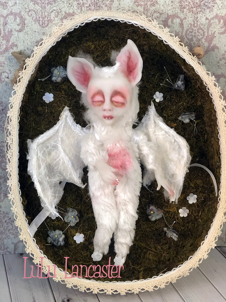 Alabaster the albino bat Original Art Doll by LuLu Lancaster