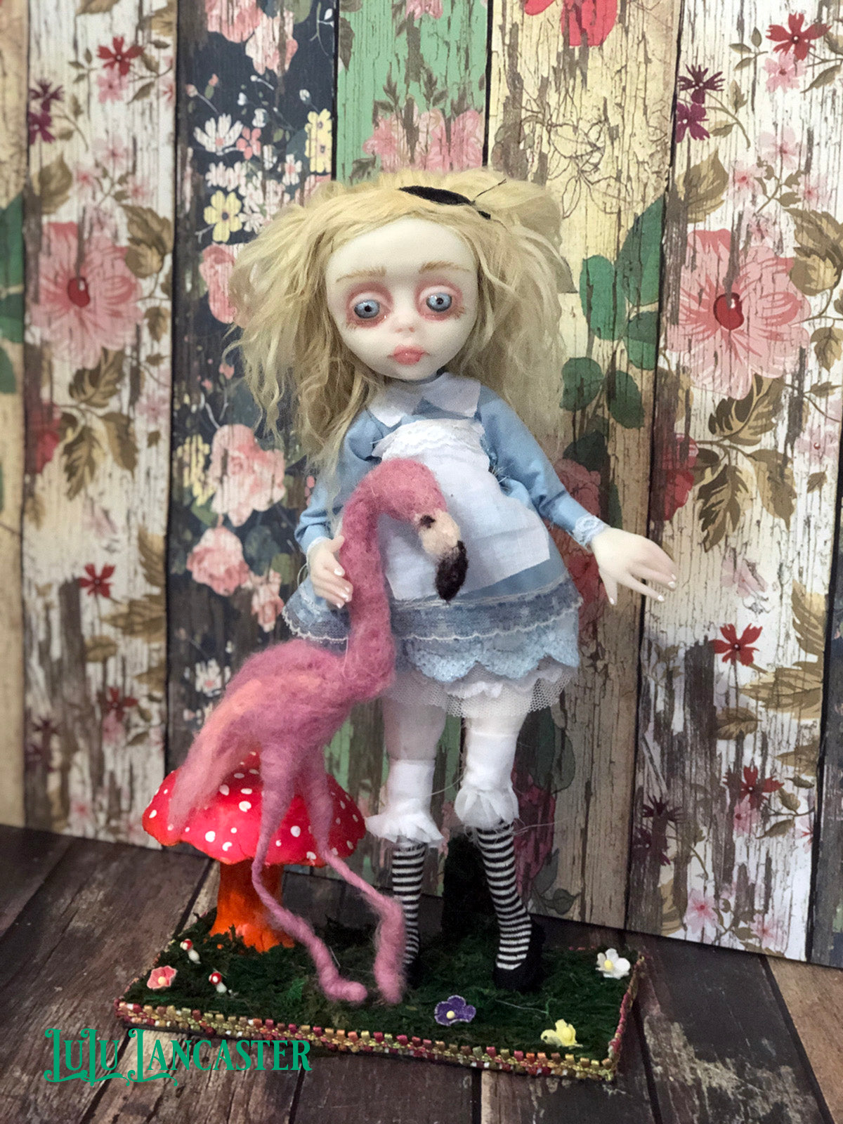 Alice and Flamingo OOAK Art Doll LuLu Lancaster