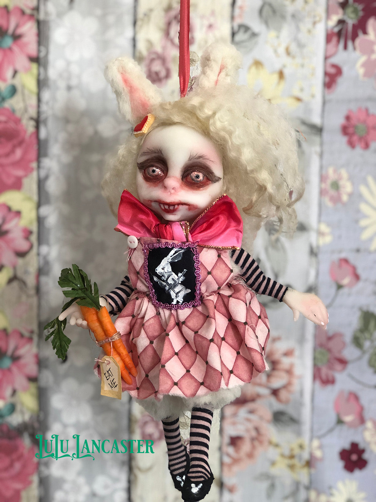 Alice BunnBunn the Vampire Bunny Mini hanging OOAK LuLu Lancaster Art Doll