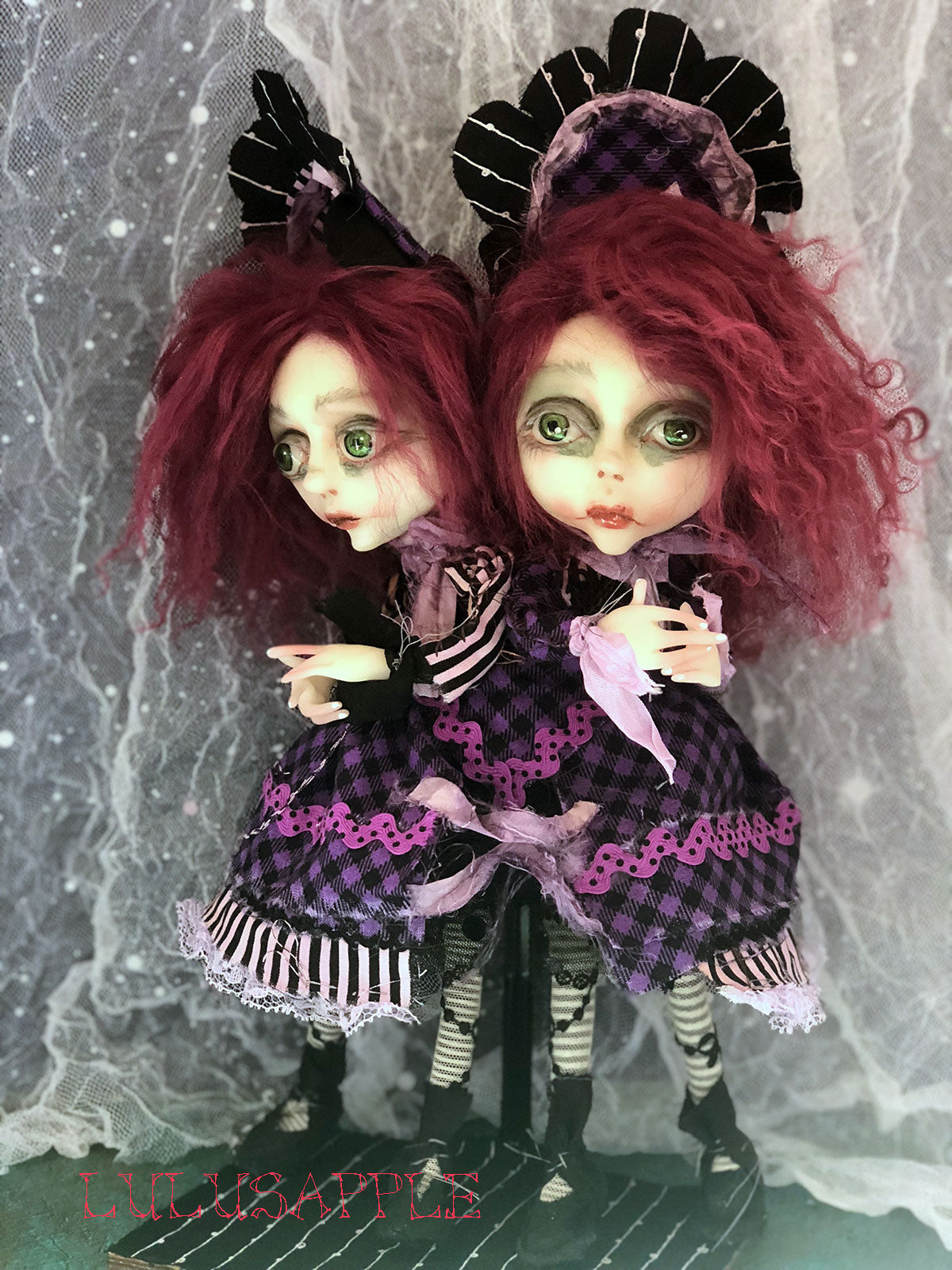 Affrey and Amy Conjoined Gothic Victorian Twins OOAK Art Dolls LuLusApple