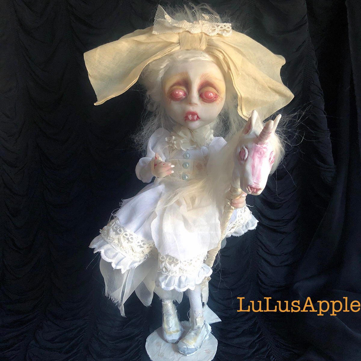 Bella Blue Albino Victorian Vampire child OOAK Art Doll LuLusApple