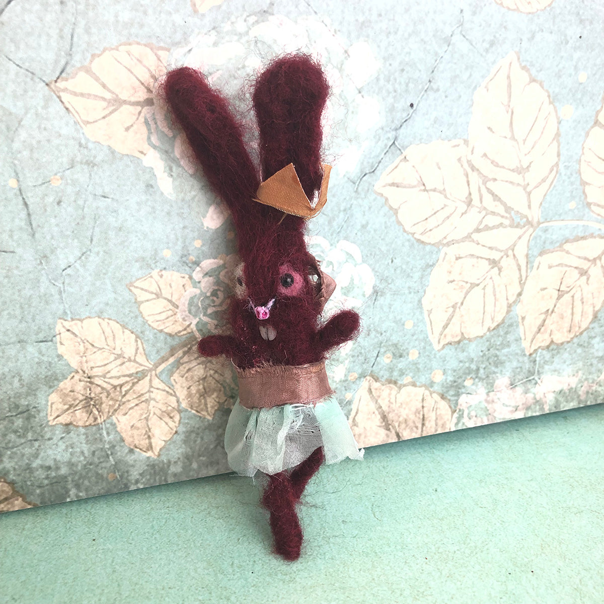 BerryFruit Bunny Felted Hanging ornament OOAK LuLusApple Art Doll