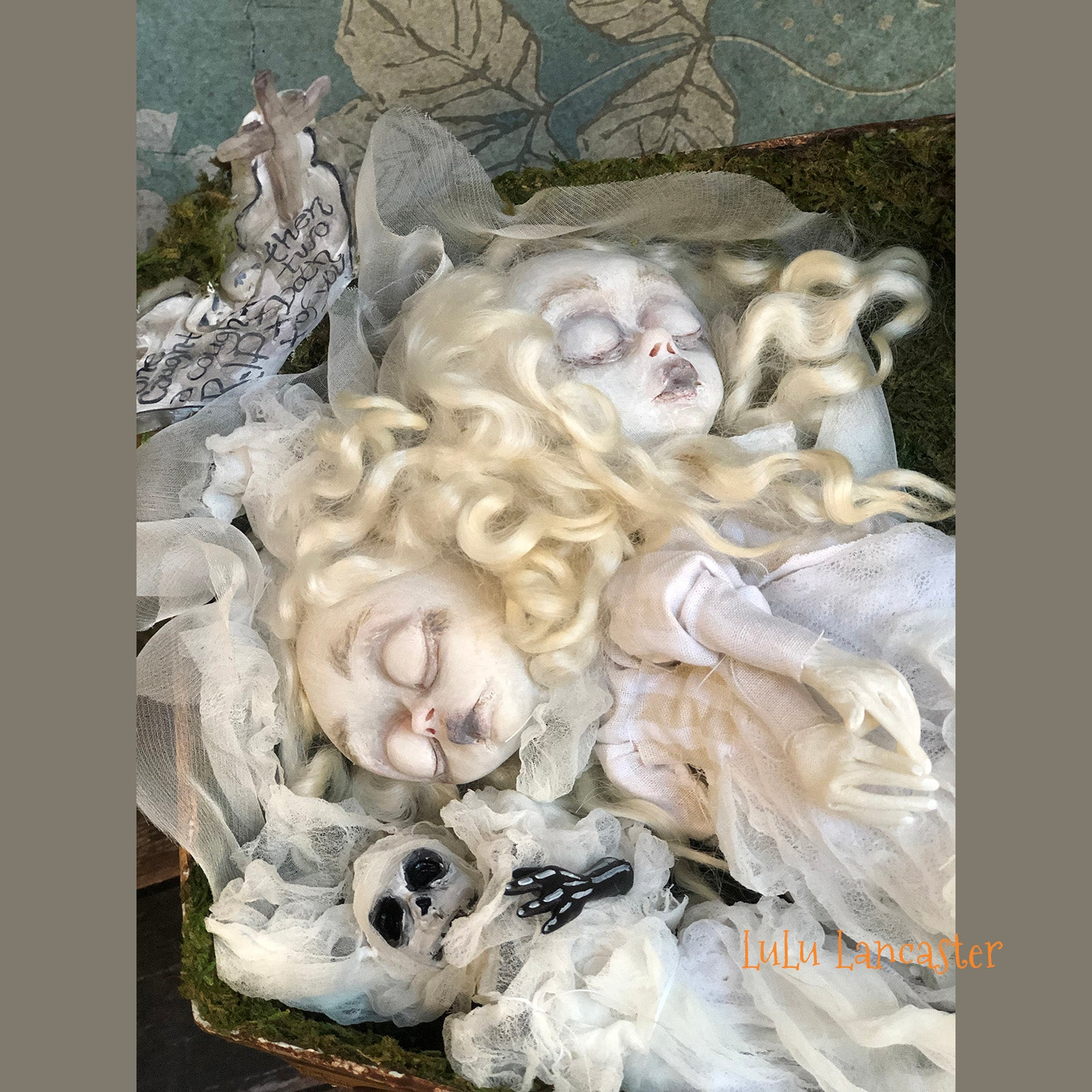 Bessie and Elsie conjoined sleeping ghosts in the graveyard OOAK Art Doll LuLusApple